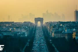 Une pollution de l'air sur une ville d'Europe