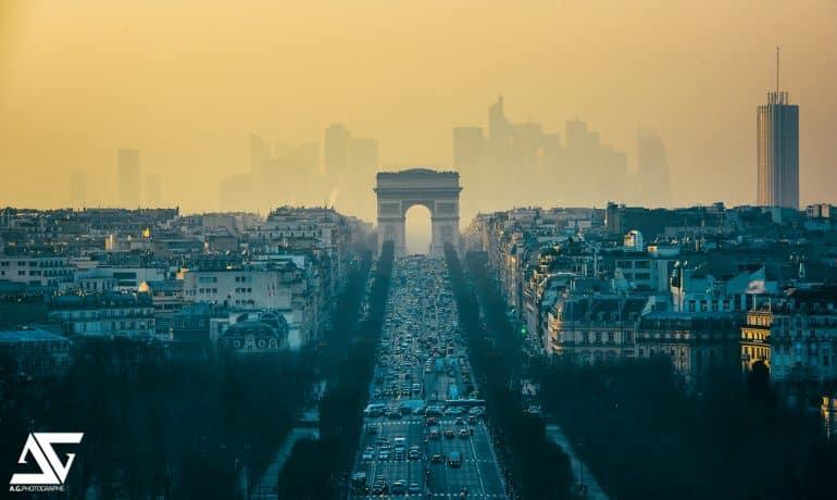 Une pollution de l'air sur une ville d'Europe